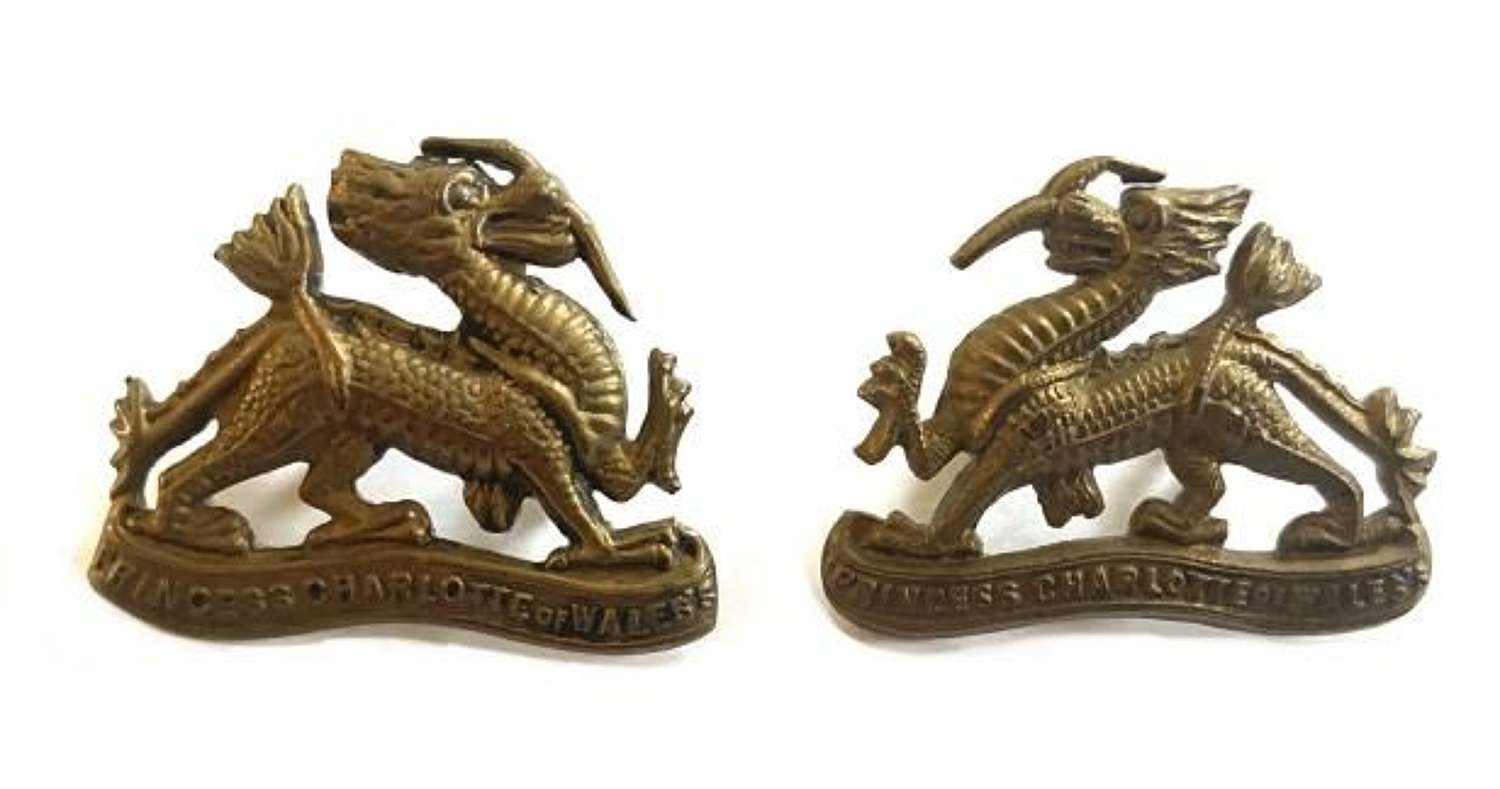Original Royal Berkshire Regiment Brass Collar Badges