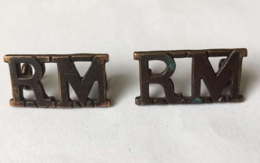 Original Royal Marines Brass Shoulder Titles
