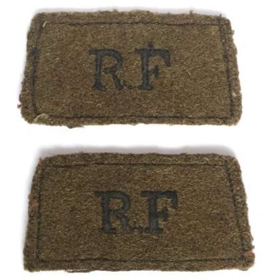 Original Matched Pair of Royal Fusiliers Cloth Shoulder Titles