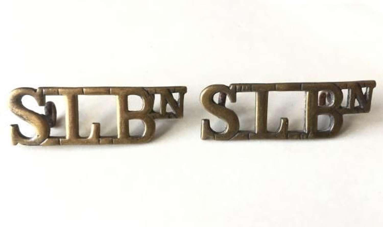 Scare Sierra Leone Battalion Brass Shoulder Titles by 'J R Gaunt'