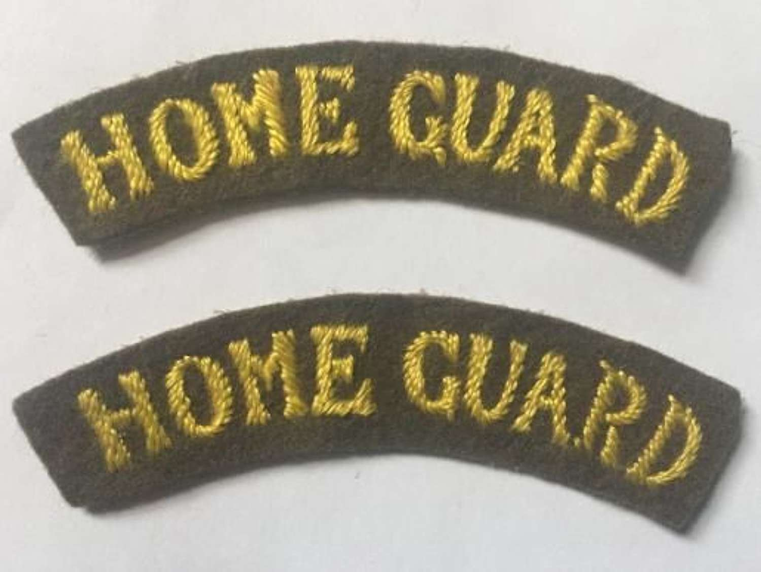 Original WW2 Embroidered Home Guard Shoulder titles - Yellow on khaki