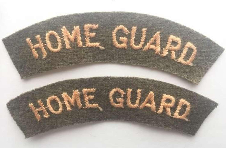 Original WW2 Embroidered Home Guard Shoulder Titles