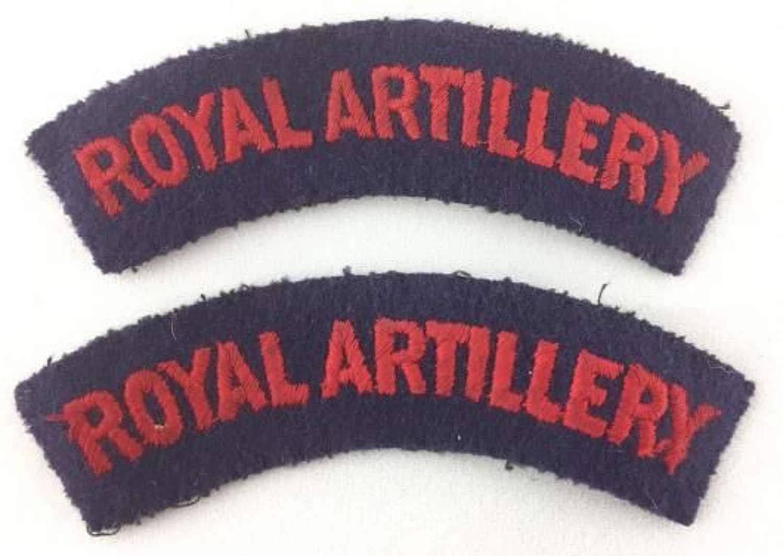 Original WW2 Period Royal Artillery Shoulder Titles