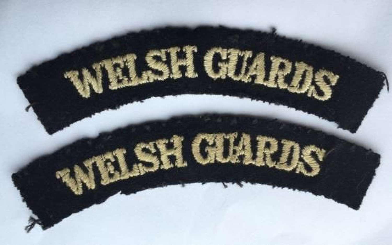 Original WW2 Welsh Guards Embroidered Shoulder Titles