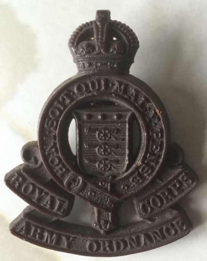 Royal Army Ordance Corp Plastic Economy Cap Badge