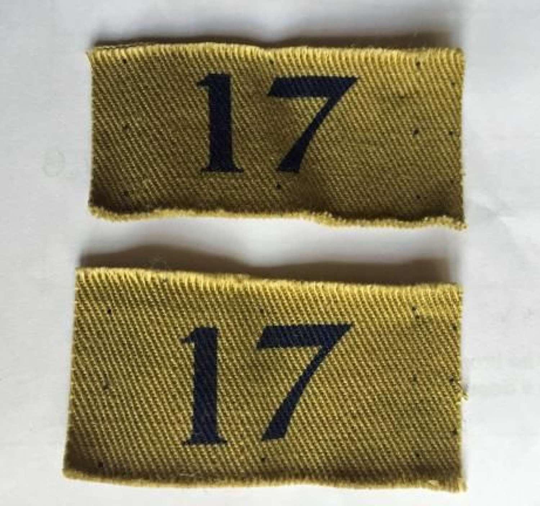 Home Guard District 17 Shoulder Insignia Uncut