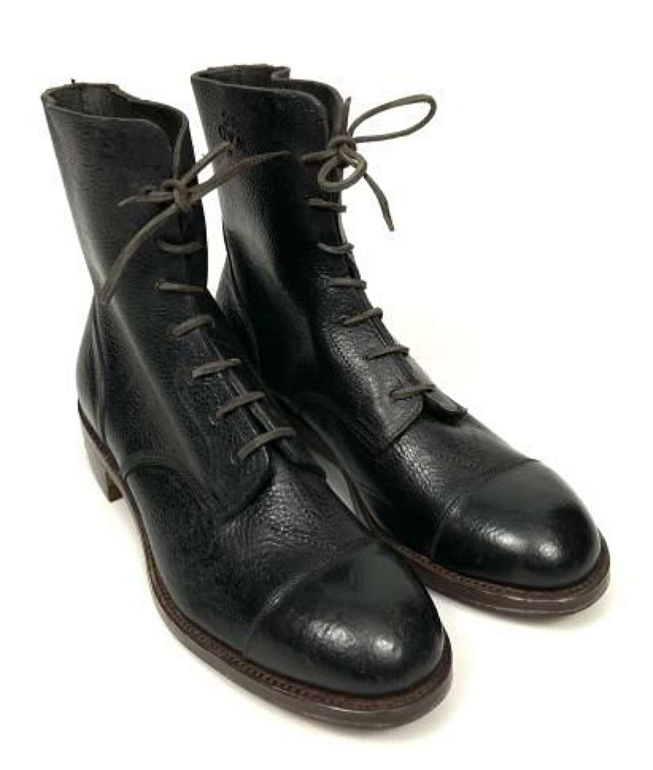 Original 1952 Dated Royal Ordnance Factory Workers Black Leather Boots