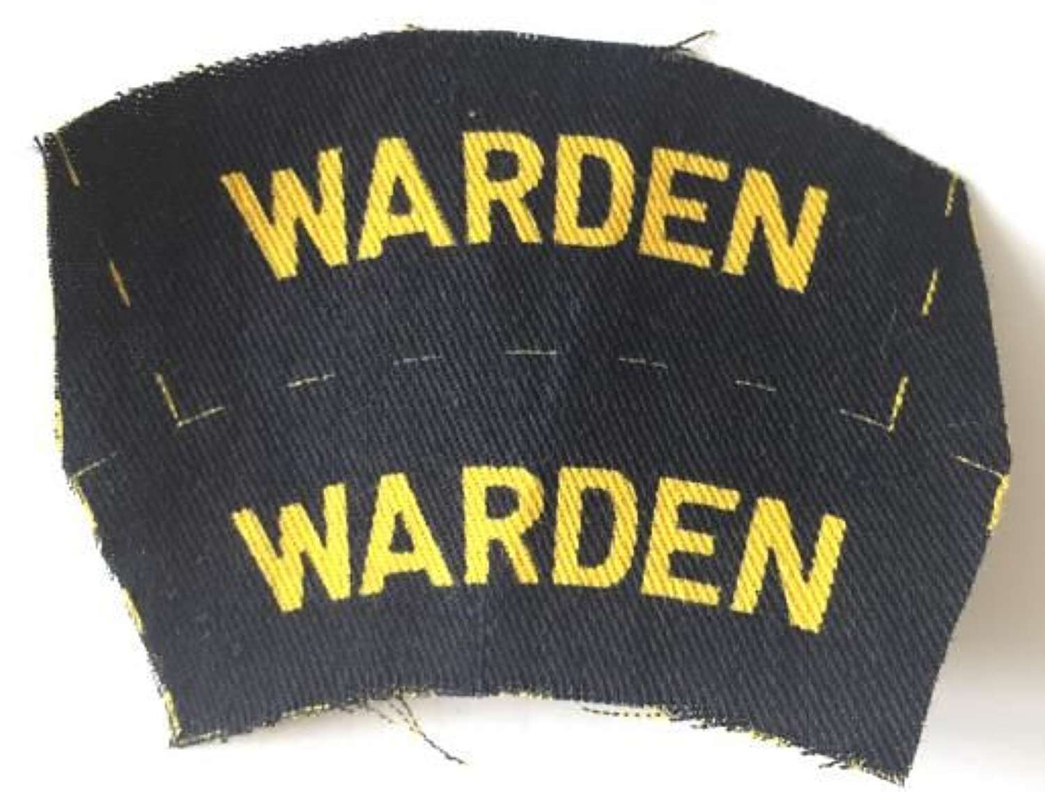 Original WW2 Printed Economy Warden Shoulder Titles
