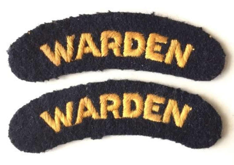 Original WW2 Era Embroidered Civil Defence Air Raid Warden Shoulder Ti