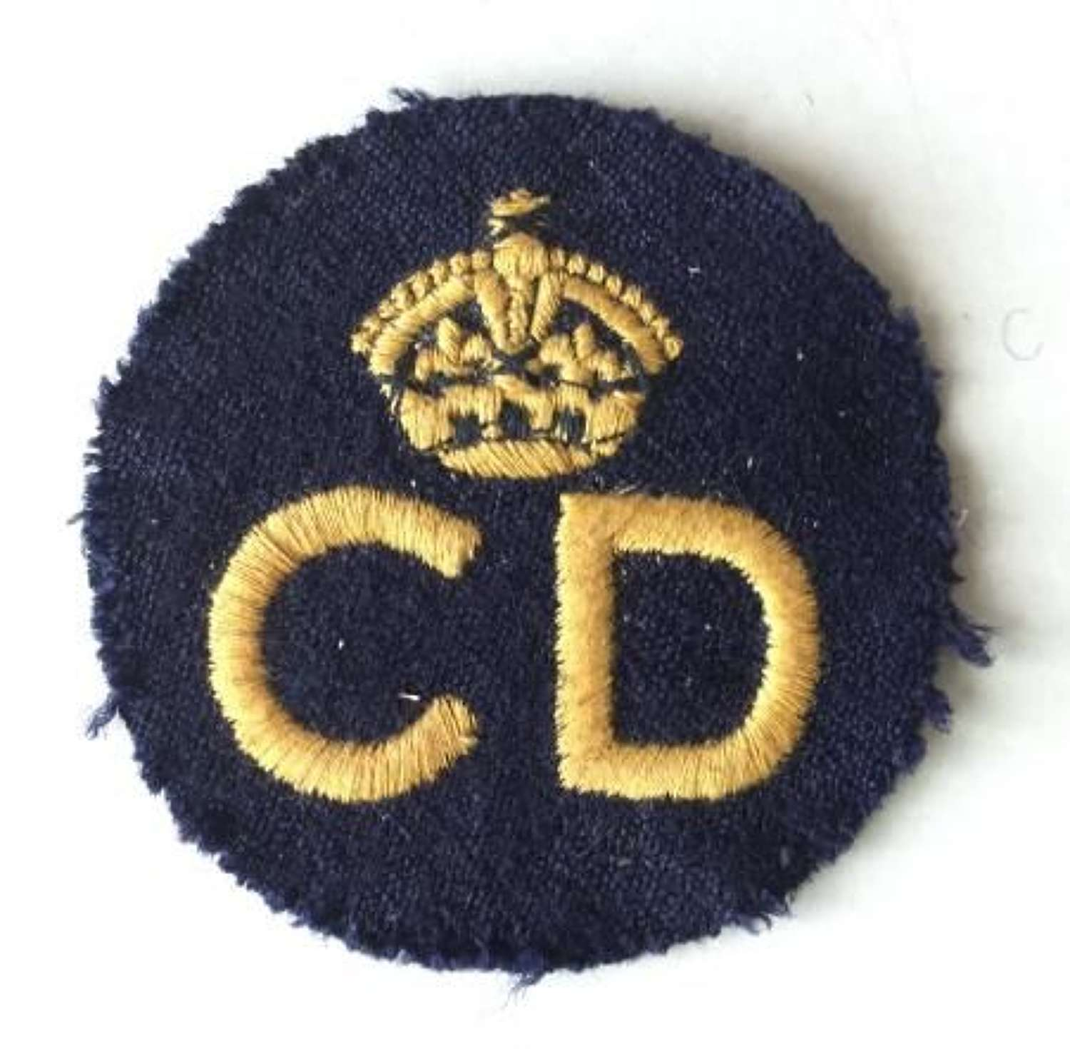 Original WW2 Era Embroidered Civil Defence Breast Badge