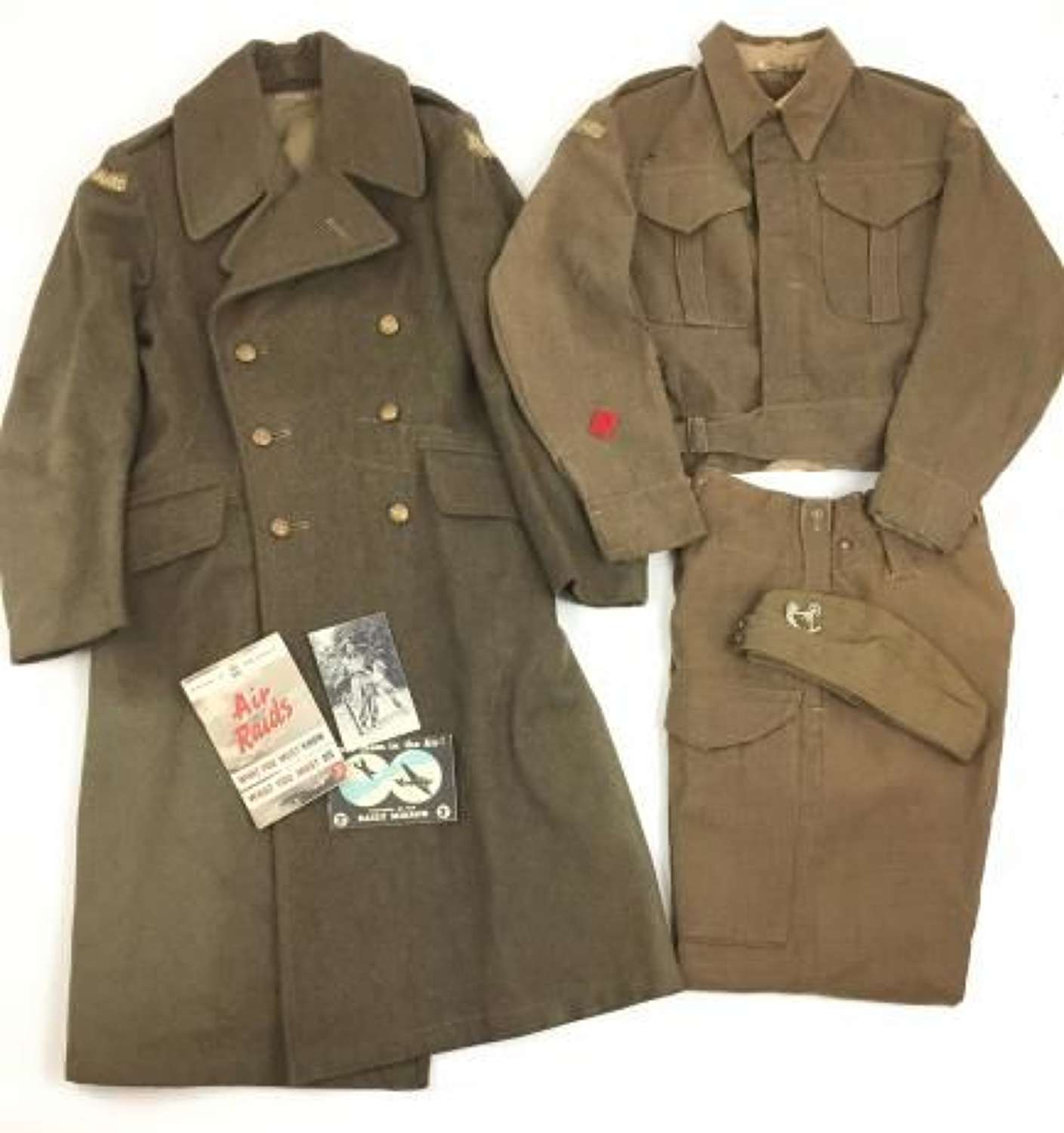 Click for more images Home Guard Unifrom Grouping Including Battledress, Greatcoat, Forage Cap and paperwork - Albrighton Home Guard
