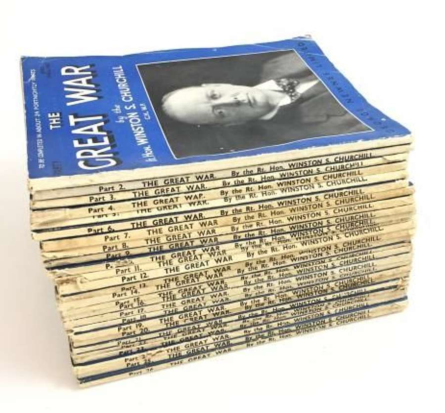 A Complete Original Set Winston Churchill's 'The Great War' In Their Original Pictorial Format