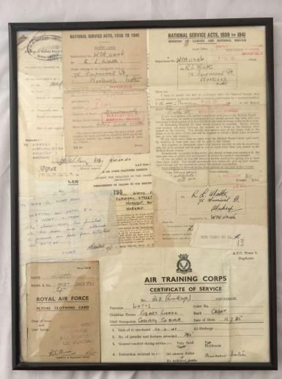 RAF Paper Work Grouping - Sgt. R. L. Watts