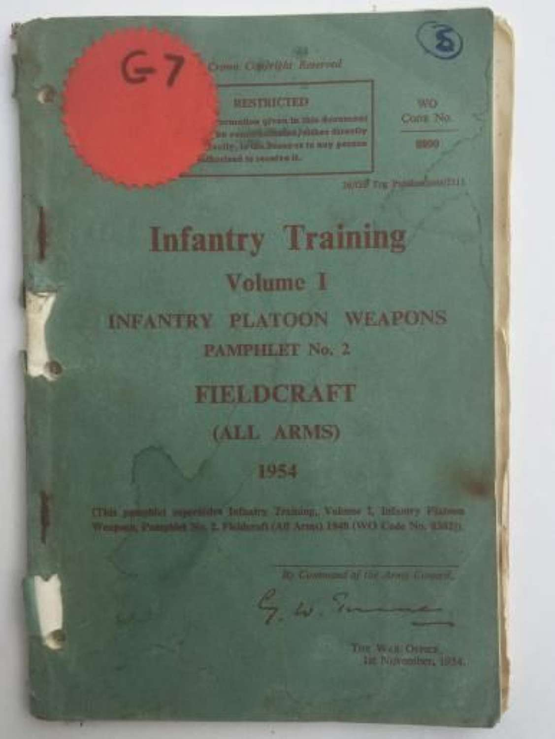 Infantry Training Manual 'Fieldcraft' Dated 1954