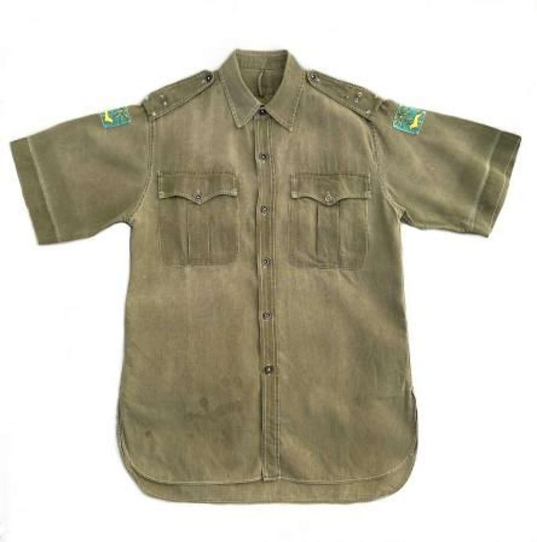 Original Late 1940s British Army Officers Jungle Green Aertex Shirt