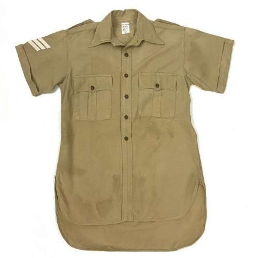 Original 1954 Dated British Army Khaki Drill Aertex Shirt