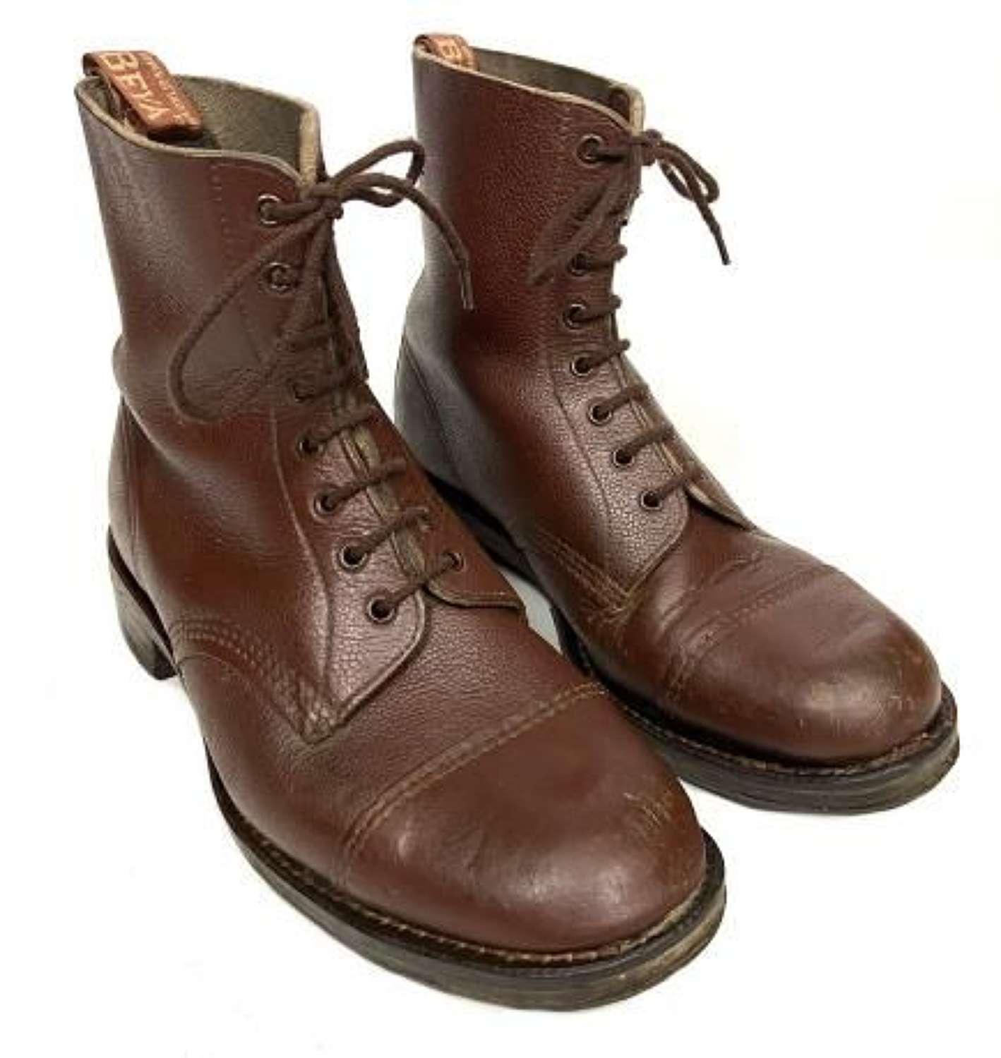 Original 1950s Men's Brown Leather Ankle Boots by 'BEVA' - Size 10