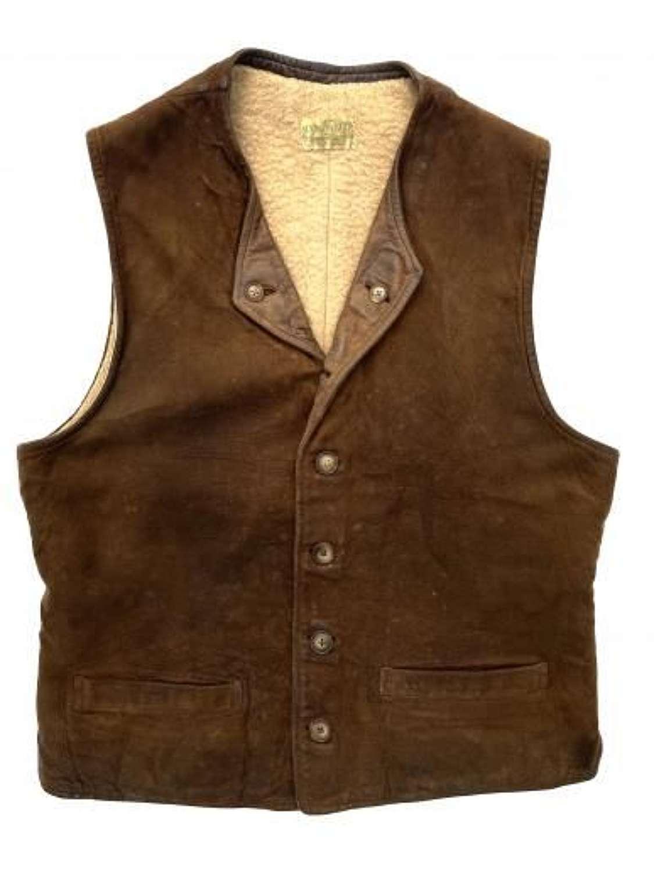 Original 1930s Men's Sheepskin Lined Suede Leather Waistcoat