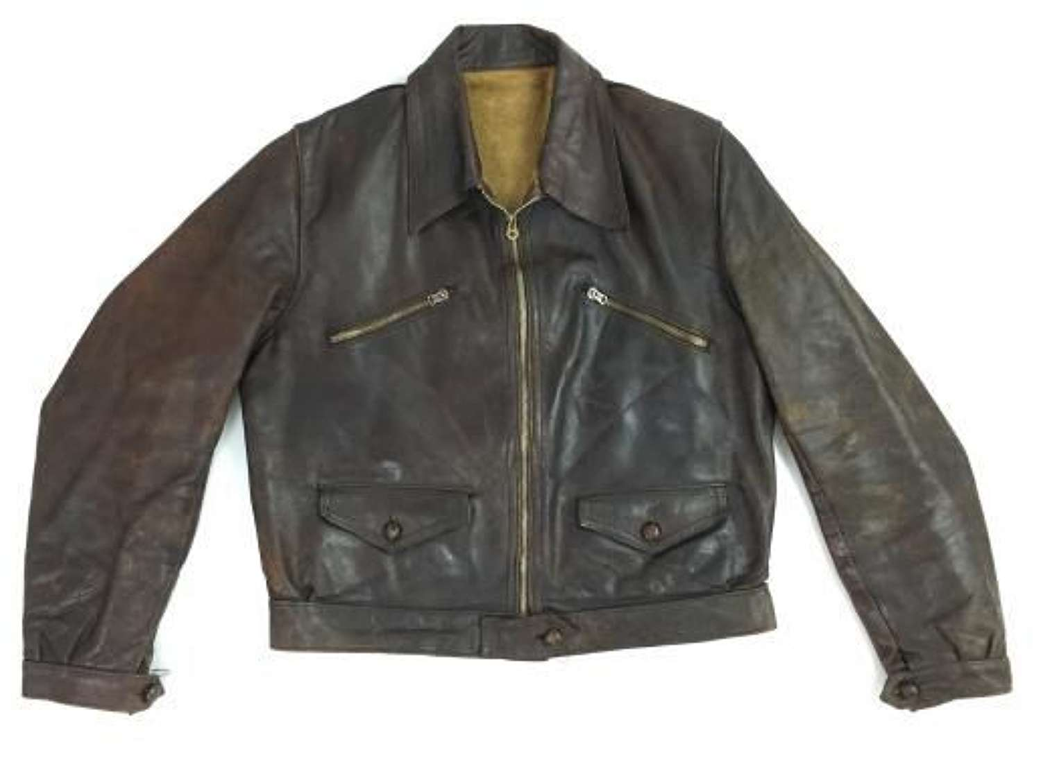 Original 1930s French Leather Cyclist Jacket