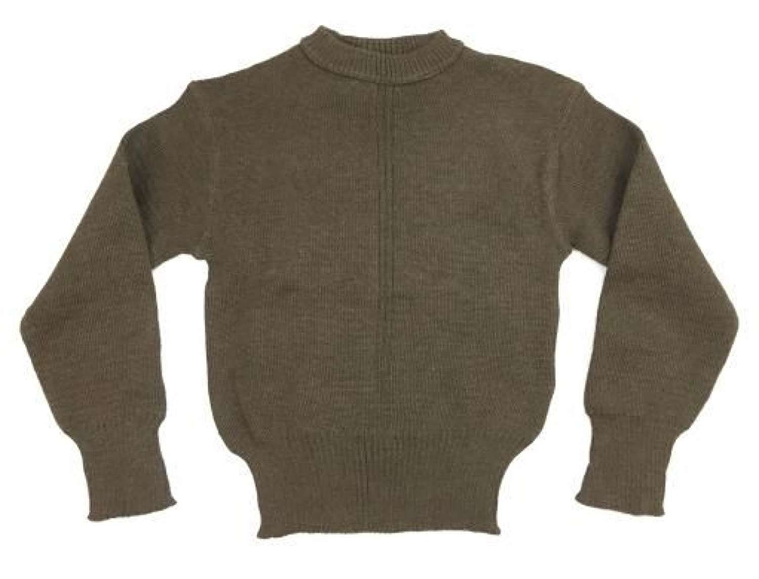 Original 1950s French Army Crew Neck Green Wool Jumper