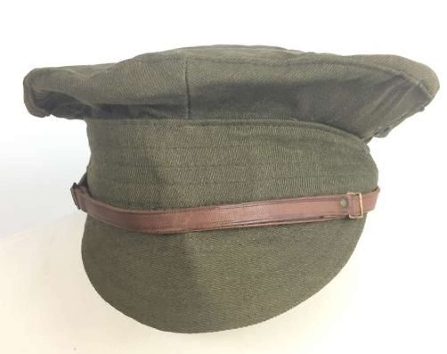 Original 1918 British Army Dated Gaberdine 'Denim' Trench Cap - Size 7 1/4