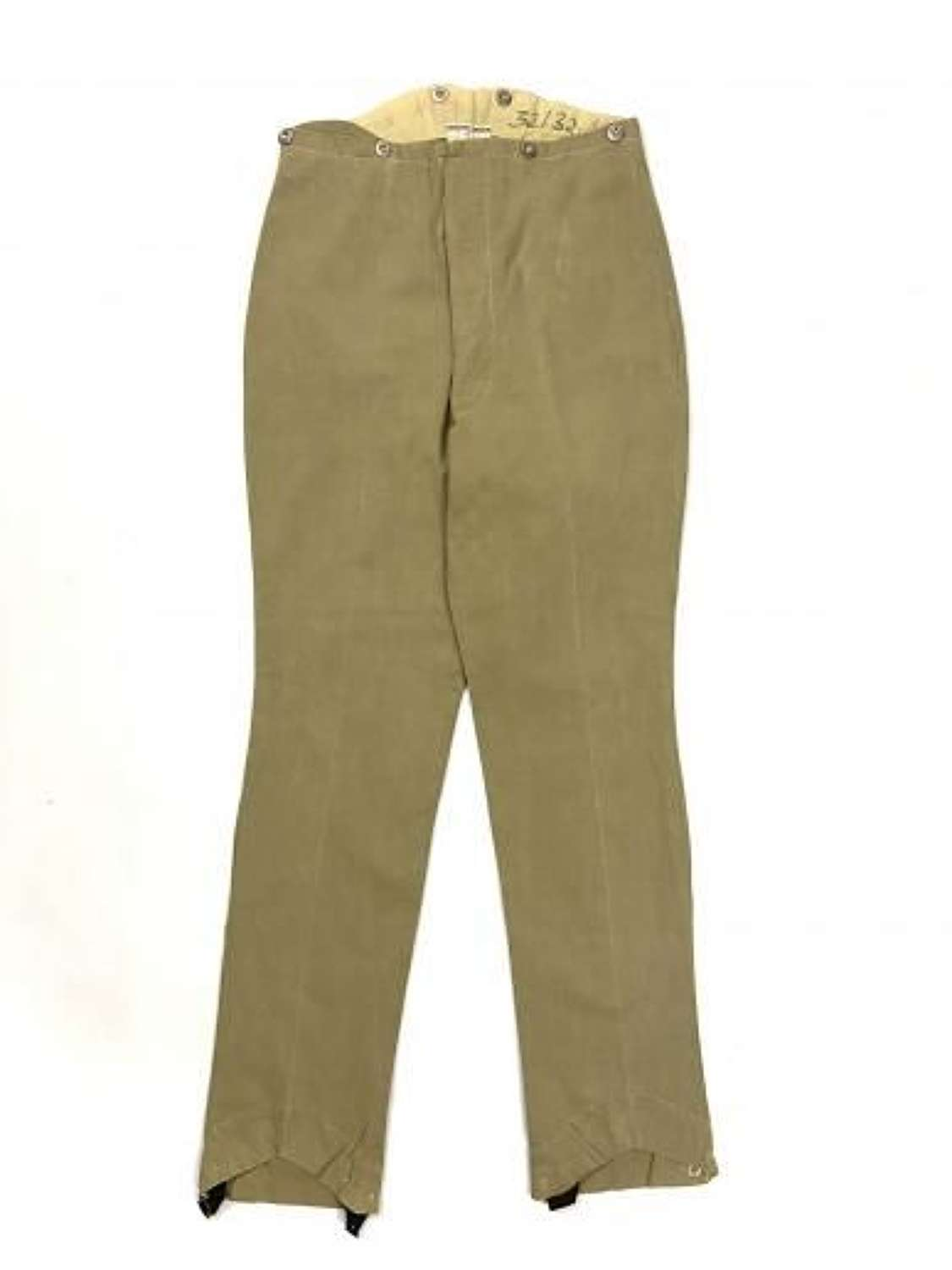 Original Great War Officers Khaki Drill Trousers by 'Hawkes & Co'.
