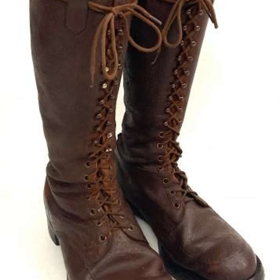Original Great War Period Full Lacing Field Boots - Size 9