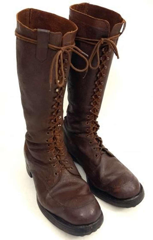 Original Great War Period Full Lacing Field Boots - Size 9