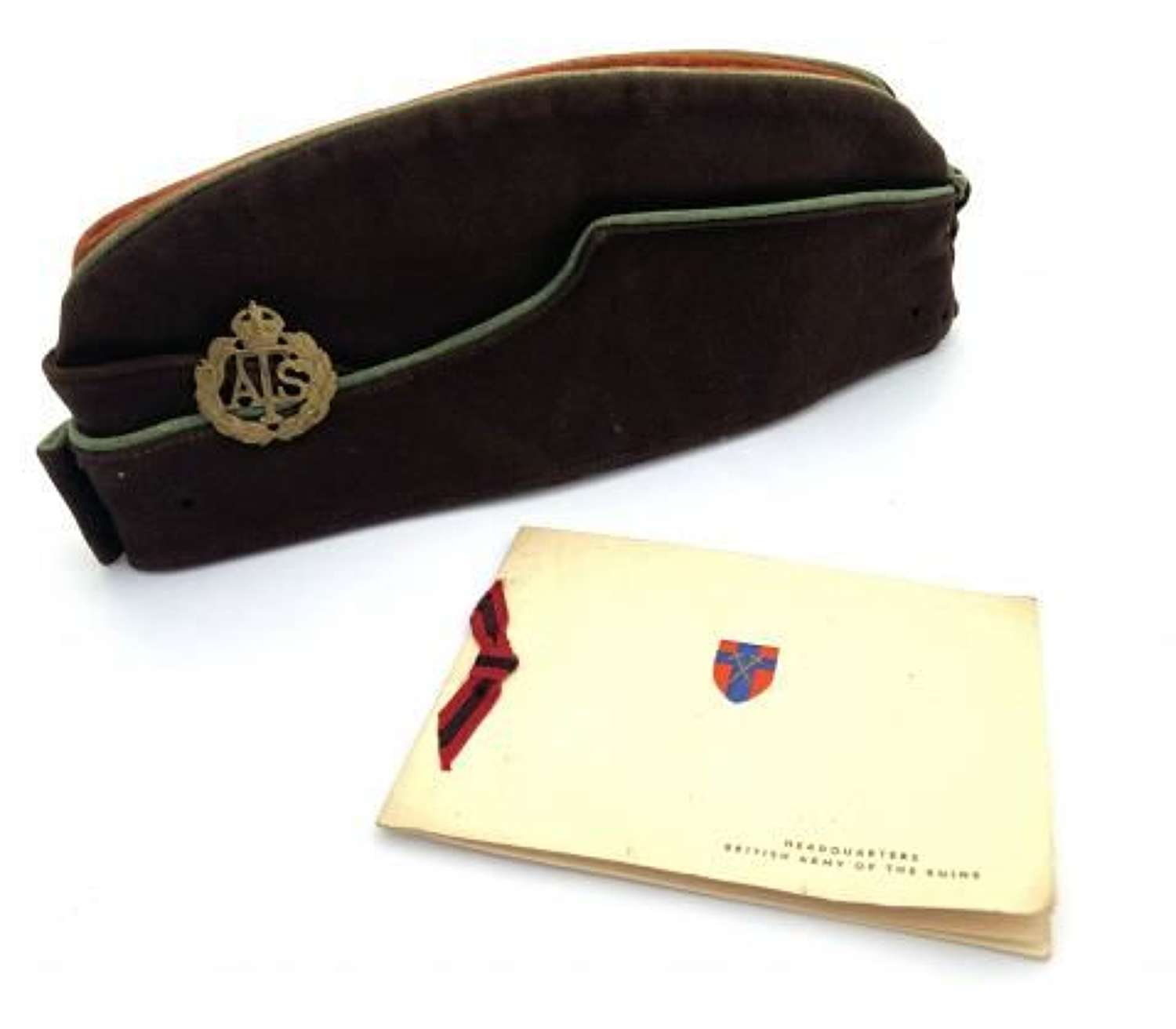 Original WW2 ATS Coloured Field Service Cap + Card