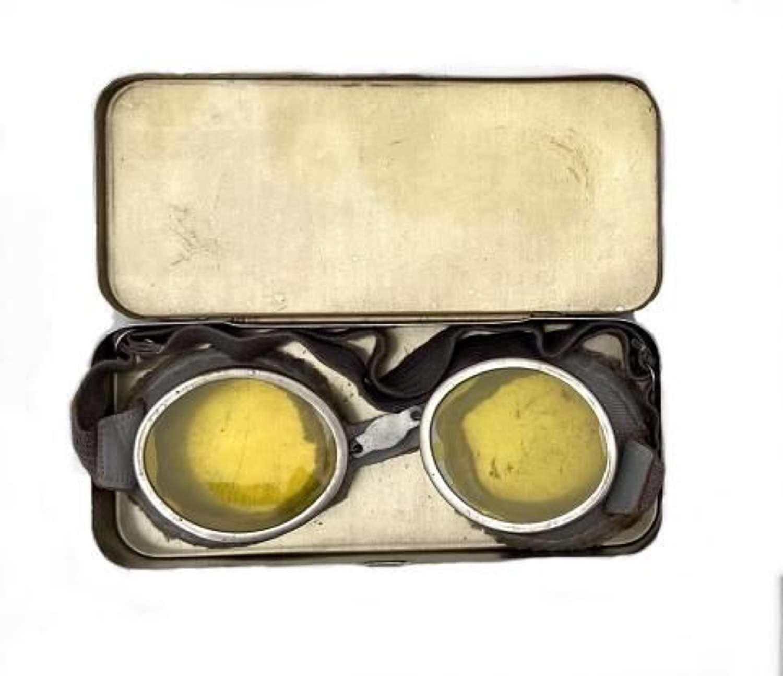 Original 1943 Dated British Army MT Goggles + Metal Case