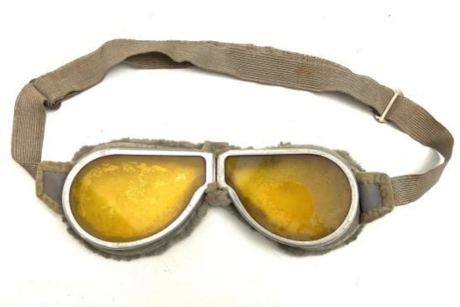 Original Early WW2 British Army MT Goggles - Yellow Lenses