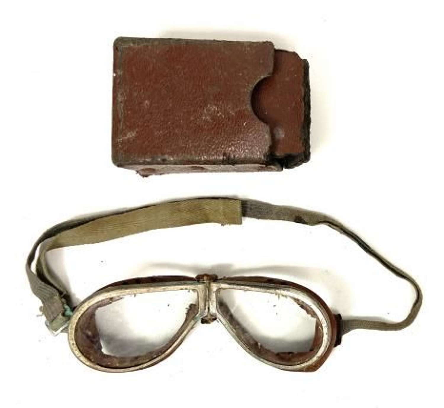 Original WW2 British Army MT Goggles and Case - Clear Lenses