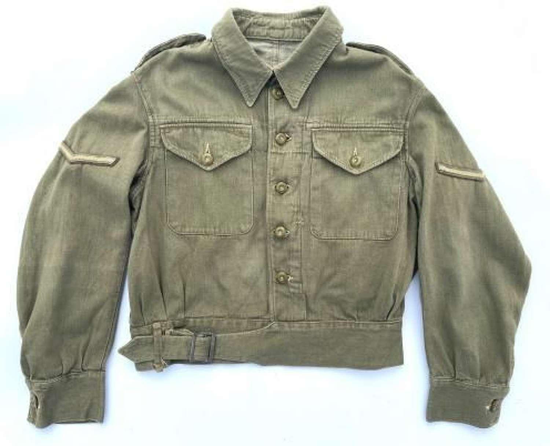 Original 1943 Dated British Army Denim Battledress Blouse - Size 8