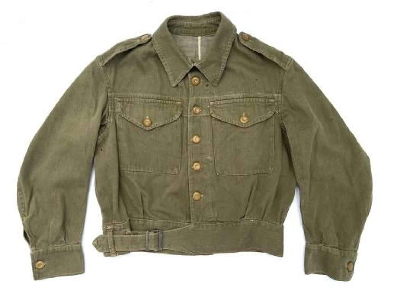 Original 1945 Dated British Army Denim Battledress Blouse - Size 4