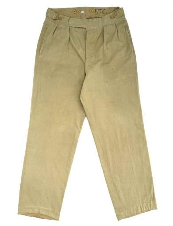 Original 1940s Theatre Made British Khaki Drill Trousers