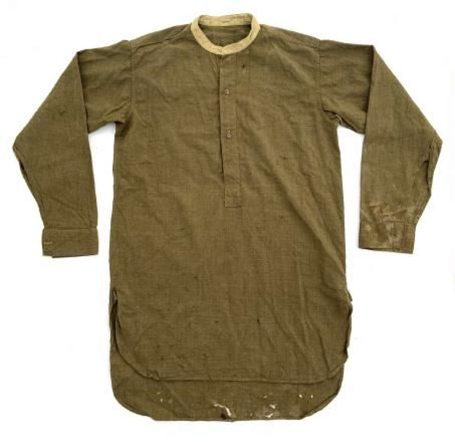 Original WW2 British Army Officers Collarless Shirt - Distressed