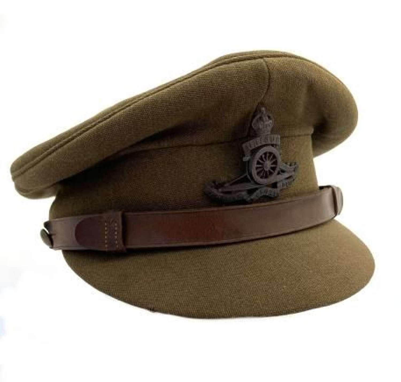 Original WW2 Royal Artillery Officers Peaked Cap by 'Bates'