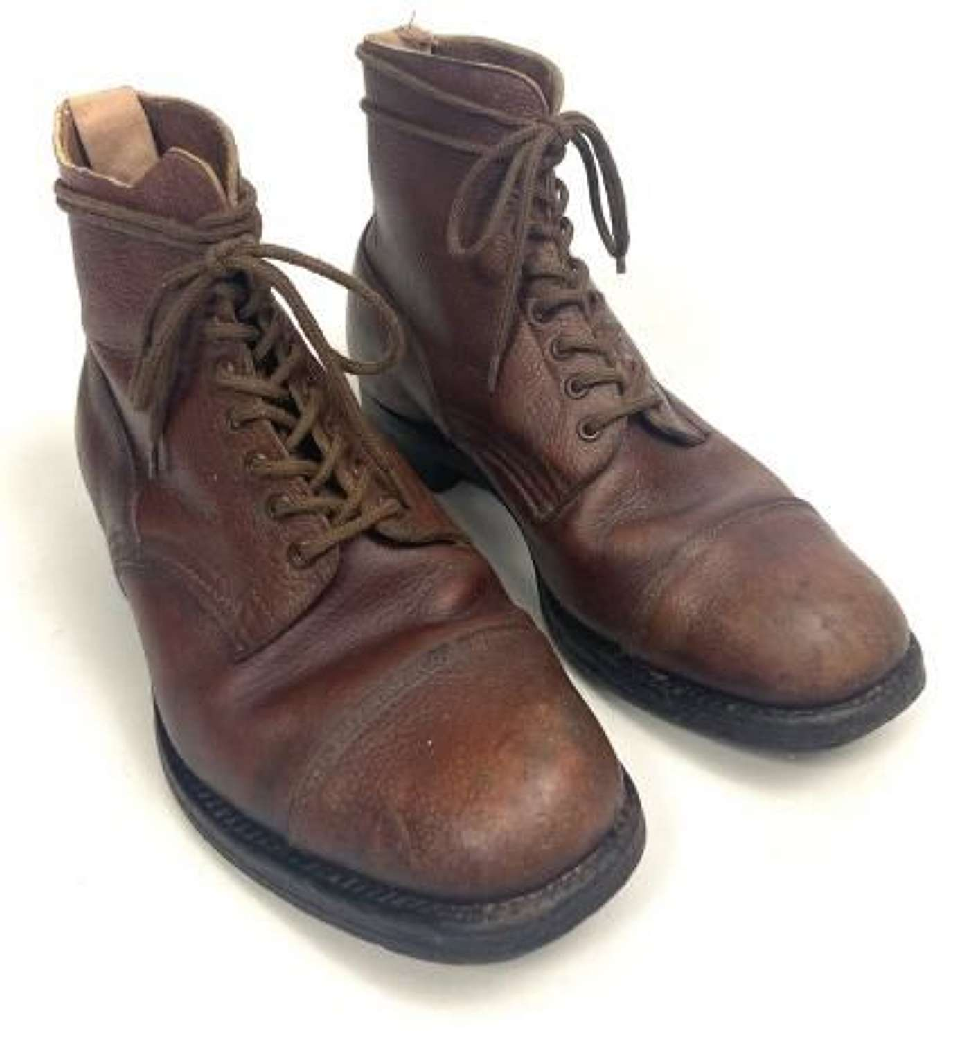 Original 1943 Dated British Army Officers Brown Leather Ankle Boots by 'Barratts'