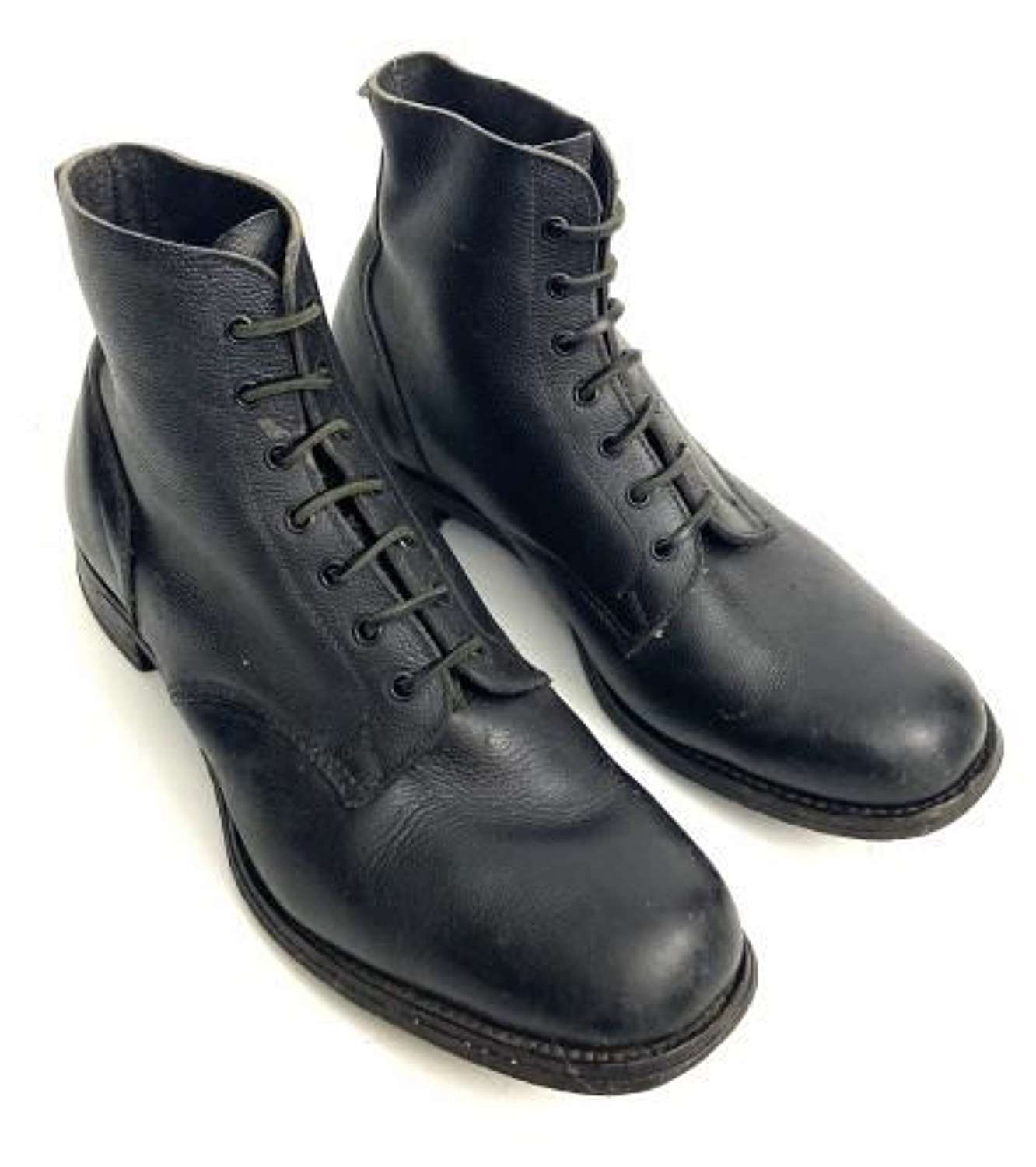 Original 1943 Dated British Black Leather Boots by 'Adams Bros LTD' - Size 9