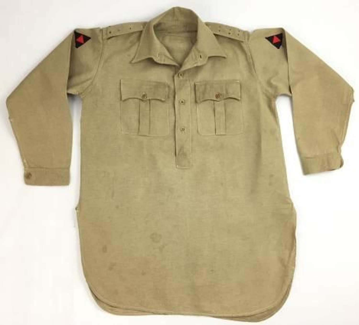 Original 1940s Khaki Drill Officers Airtex Shirt with 3 Div Insignia- Large Size