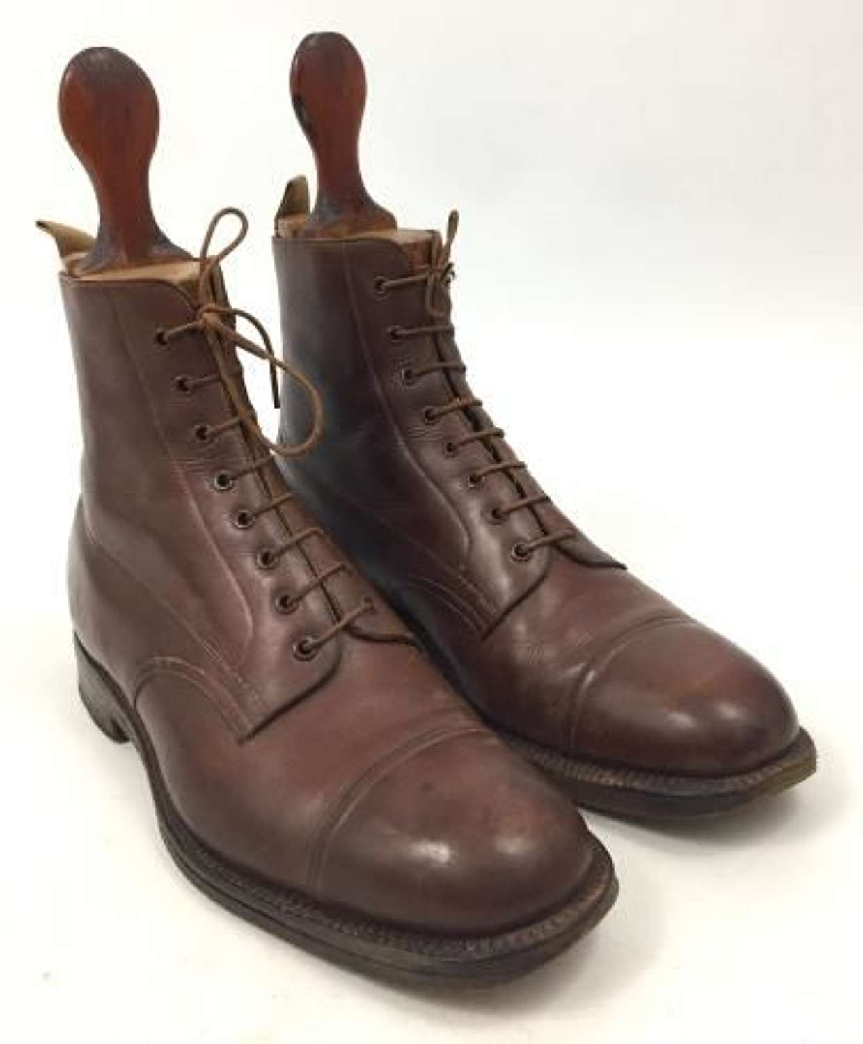 Original British Army Officers Bespoke Brown Leather Ankle Boots and Shoe Trees