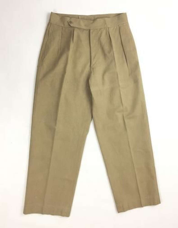 Original 1940s British Army Khaki Drill Trousers