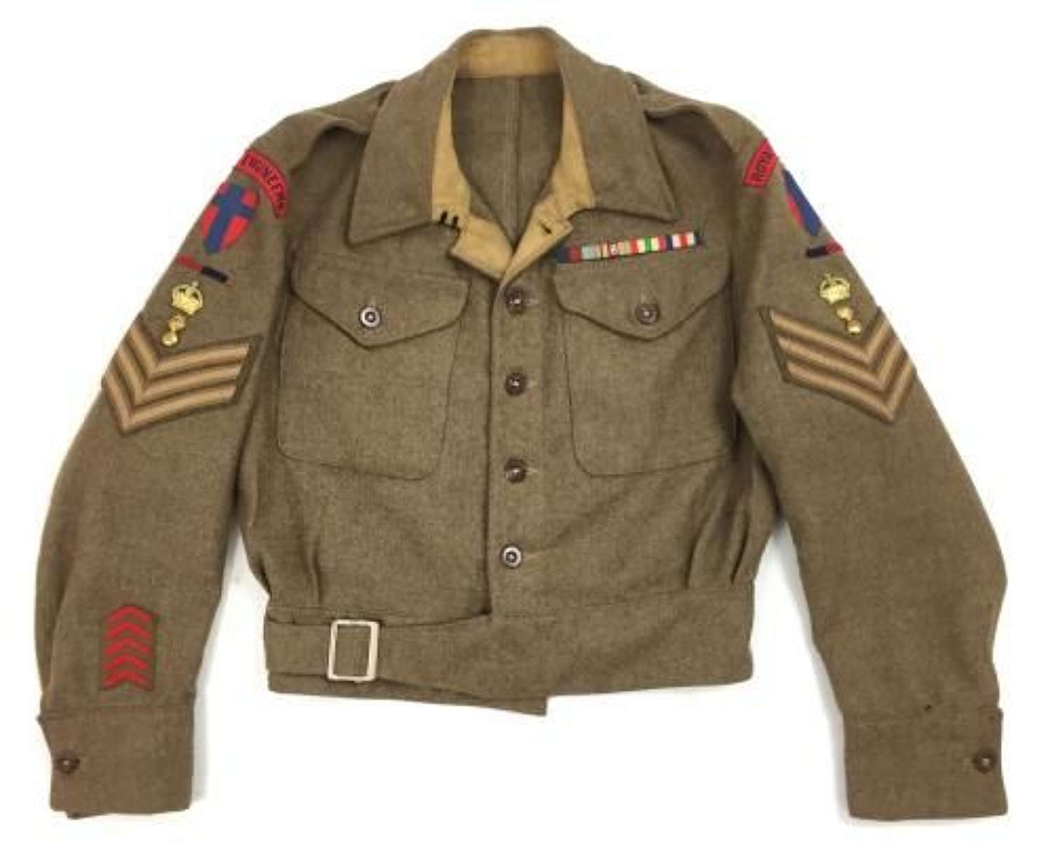Origianl 1942 Dated 1940 Pattern (Austerity) Battledress Blouse to a Staff Sergeant of 21st Army Group