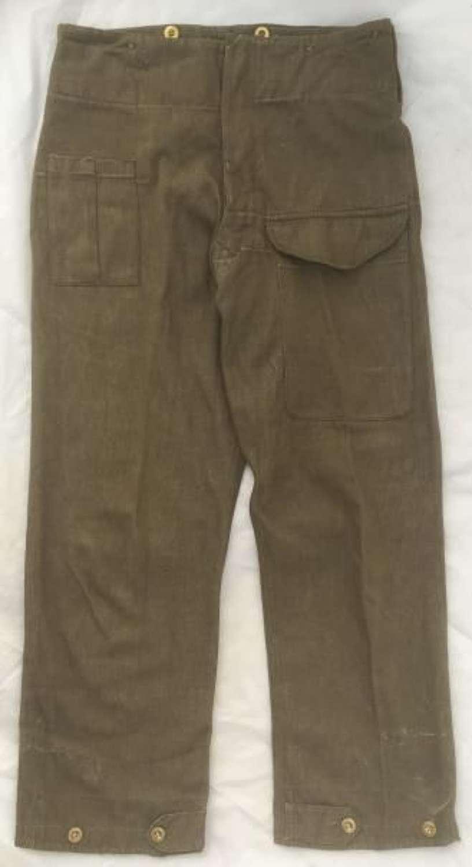Original 1940 Dated First Pattern Denim Battledress Trousers