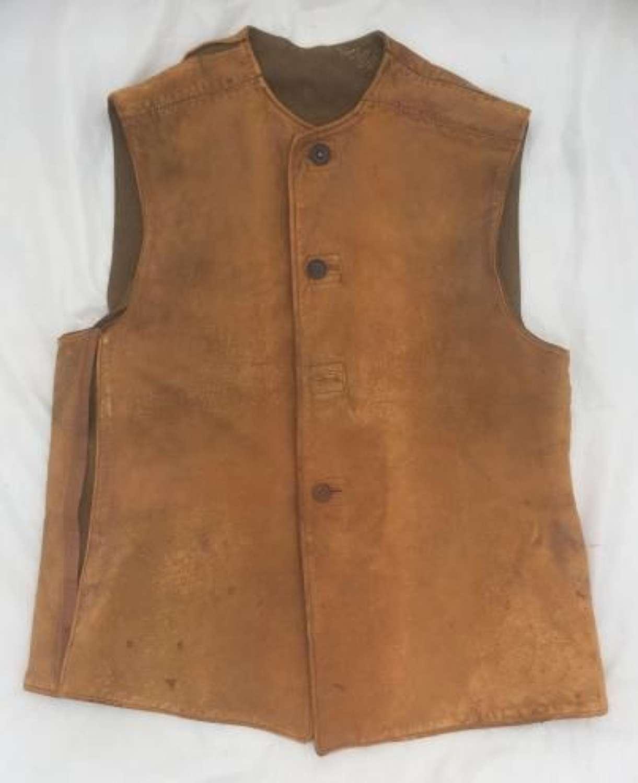 Original 1943 Dated British Army Leather Jerkin - Size 3