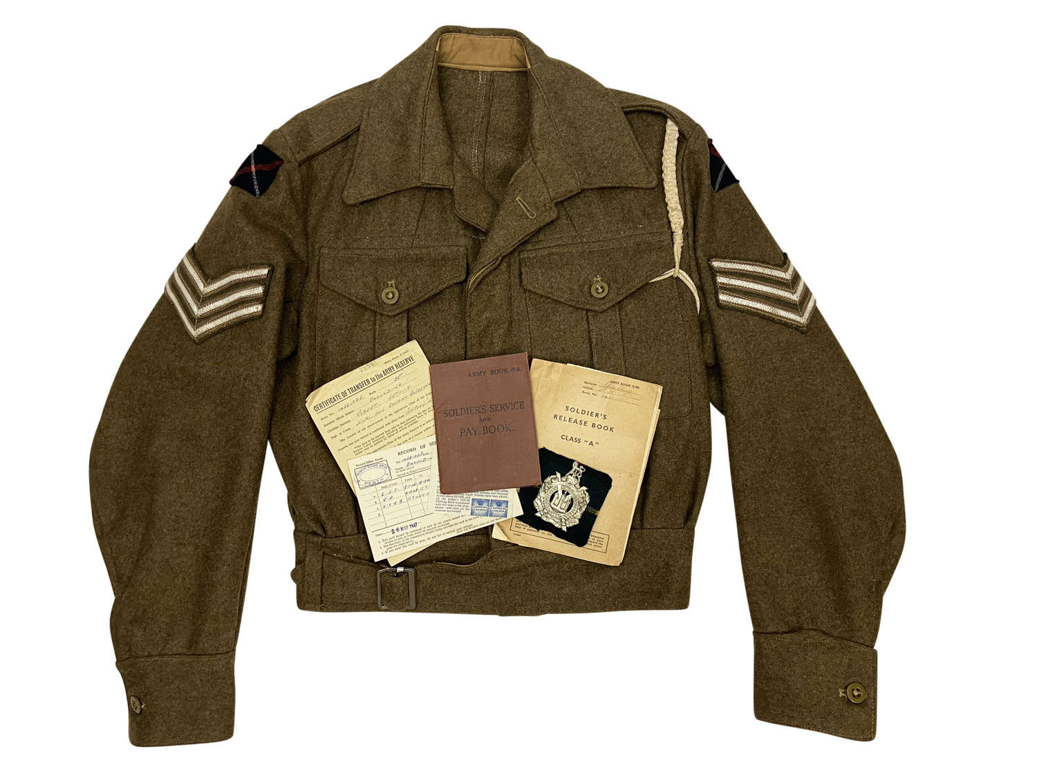 Attributed Battledress Blouse + Paperwork to a Sgt of the KOSB