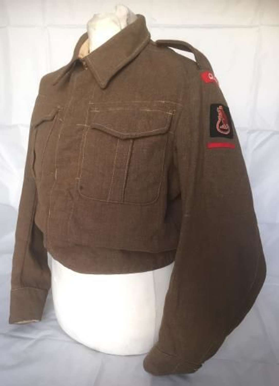 Original WW2 1937 Pattern Battledress Blouse Queens Royal Regiment, 7th Armoured Division