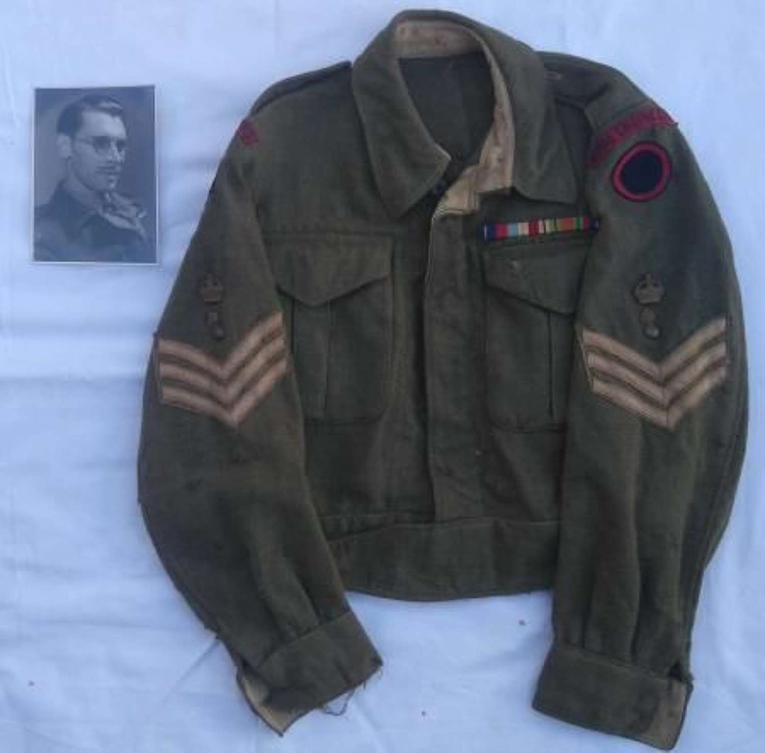 Original WW2 Royal Engineers Battledress Blouse and Photograph