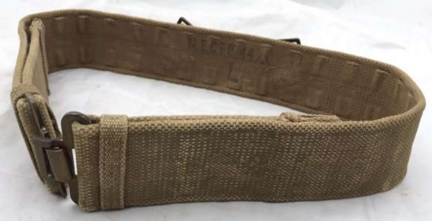 1944 Dated Austerity Pattern Webbing Belt Named To 1st Gordon Highlanders