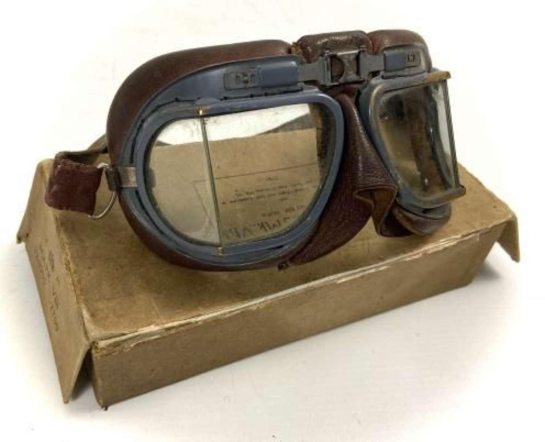 Original WW2 RAF MK VIII Flying Goggles + Box - AM Marked